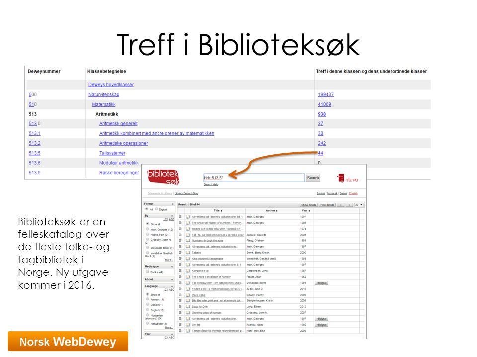 Treff i Biblioteksøk Biblioteksøk er en felleskatalog over de fleste folke- og fagbibliotek i Norge. Ny utgave kommer i 2016.