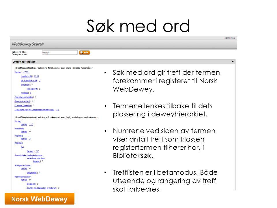 Søk med ord Søk med ord gir treff der termen forekommer i registeret til Norsk WebDewey. Termene lenkes tilbake til dets plassering i deweyhierarkiet.