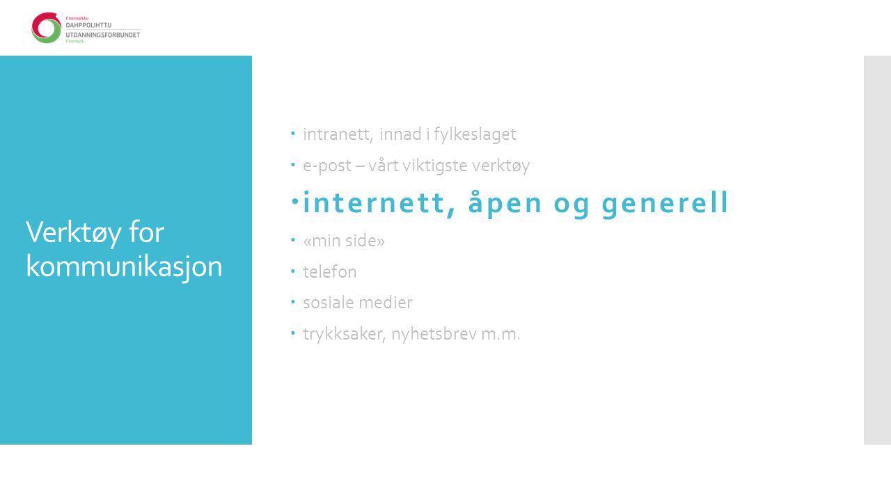 Verktøy for kommunikasjon  intranett, innad i fylkeslaget  e-post – vårt viktigste verktøy  internett, åpen og generell  «min side»  telefon  sosiale medier  trykksaker, nyhetsbrev m.m.