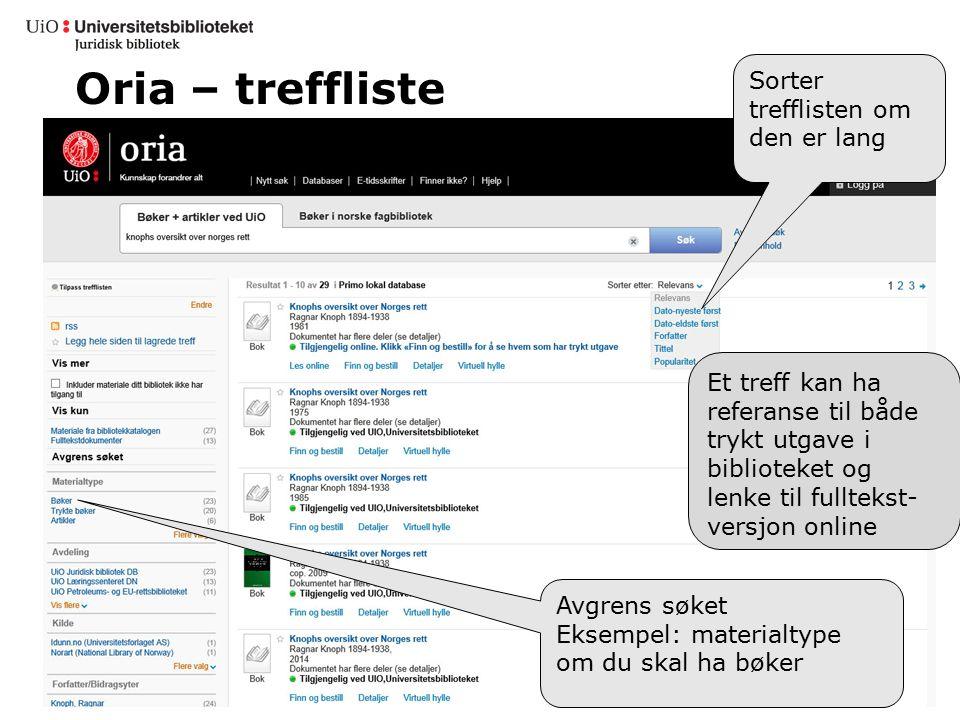 Oria – treffliste Sorter trefflisten om den er lang Et treff kan ha referanse til både trykt utgave i biblioteket og lenke til fulltekst- versjon onli