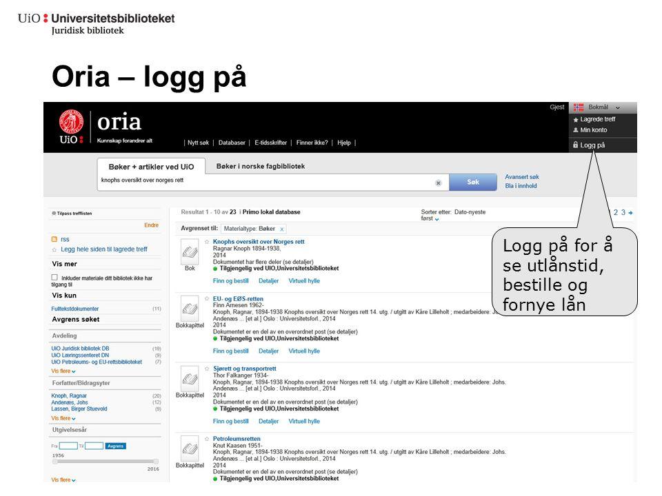 Oria – logg på Logg på for å se utlånstid, bestille og fornye lån