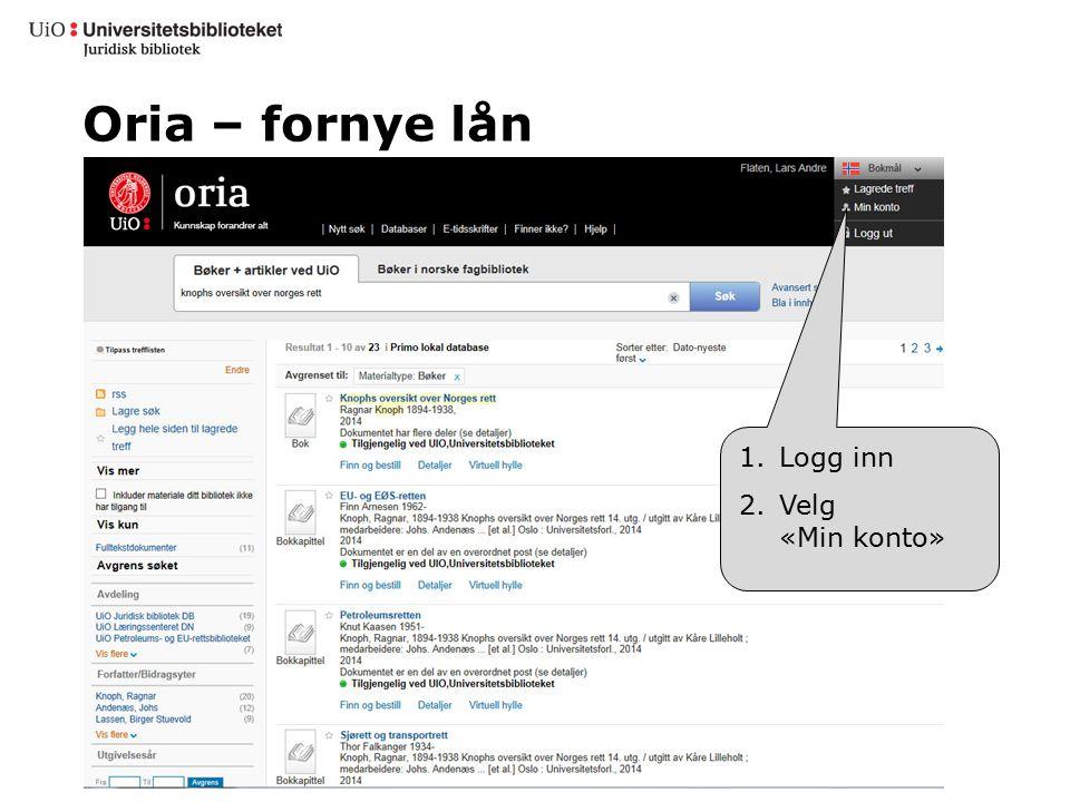 Oria – fornye lån 1.Logg inn 2.Velg «Min konto»