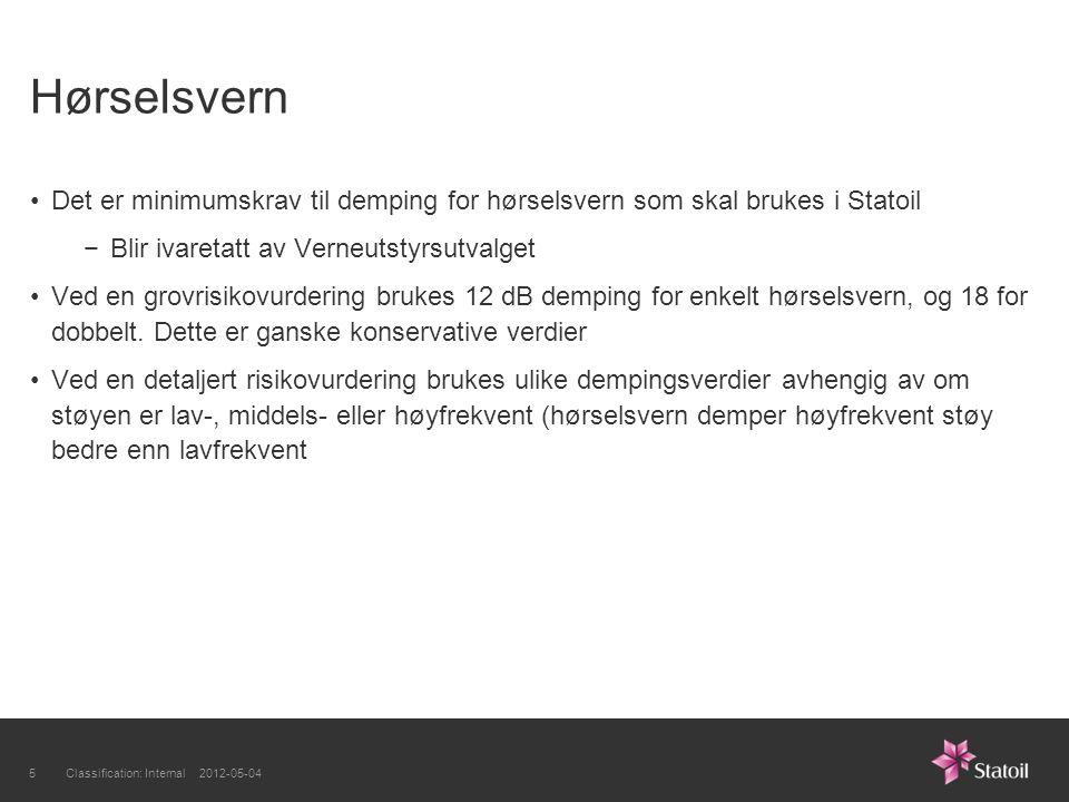 Hørselsvern Det er minimumskrav til demping for hørselsvern som skal brukes i Statoil −Blir ivaretatt av Verneutstyrsutvalget Ved en grovrisikovurdering brukes 12 dB demping for enkelt hørselsvern, og 18 for dobbelt.