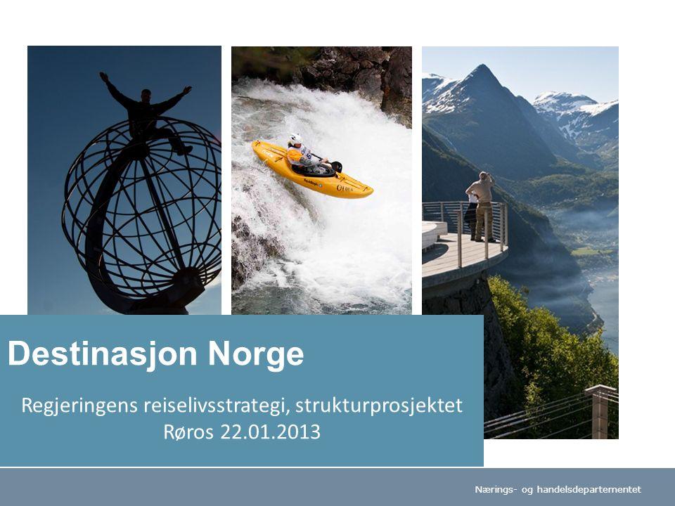 Nærings- og handelsdepartementet Regjeringens reiselivsstrategi, strukturprosjektet Røros 22.01.2013 Destinasjon Norge