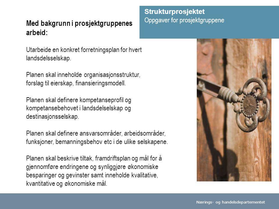 Nærings- og handelsdepartementet Med bakgrunn i prosjektgruppenes arbeid: Utarbeide en konkret forretningsplan for hvert landsdelsselskap.