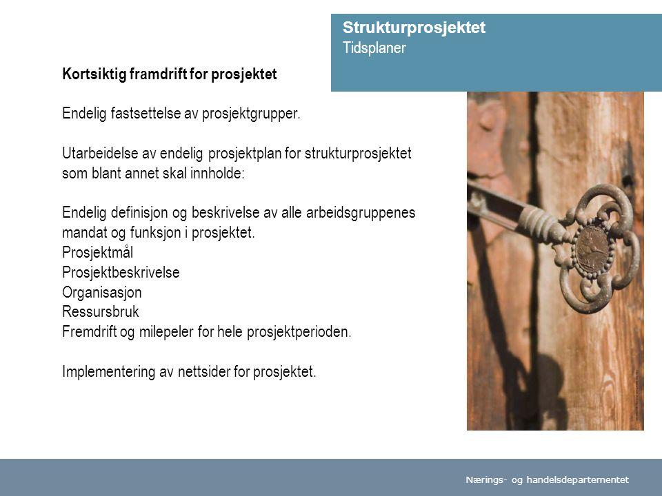 Nærings- og handelsdepartementet Kortsiktig framdrift for prosjektet Endelig fastsettelse av prosjektgrupper.