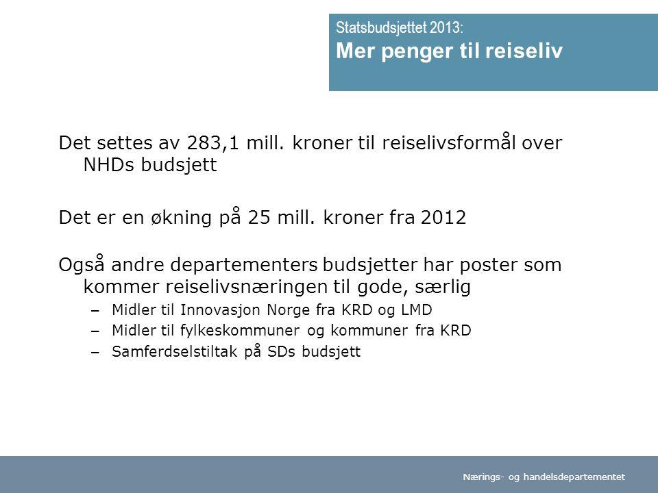 Nærings- og handelsdepartementet Norsk mal:Tekst med kulepunkter Tips bunntekst: For å redigere dato og tittel på presentasjon: Klikk på Sett Inn -> Topp og bunntekst -> Huk av for ønsket tekst.