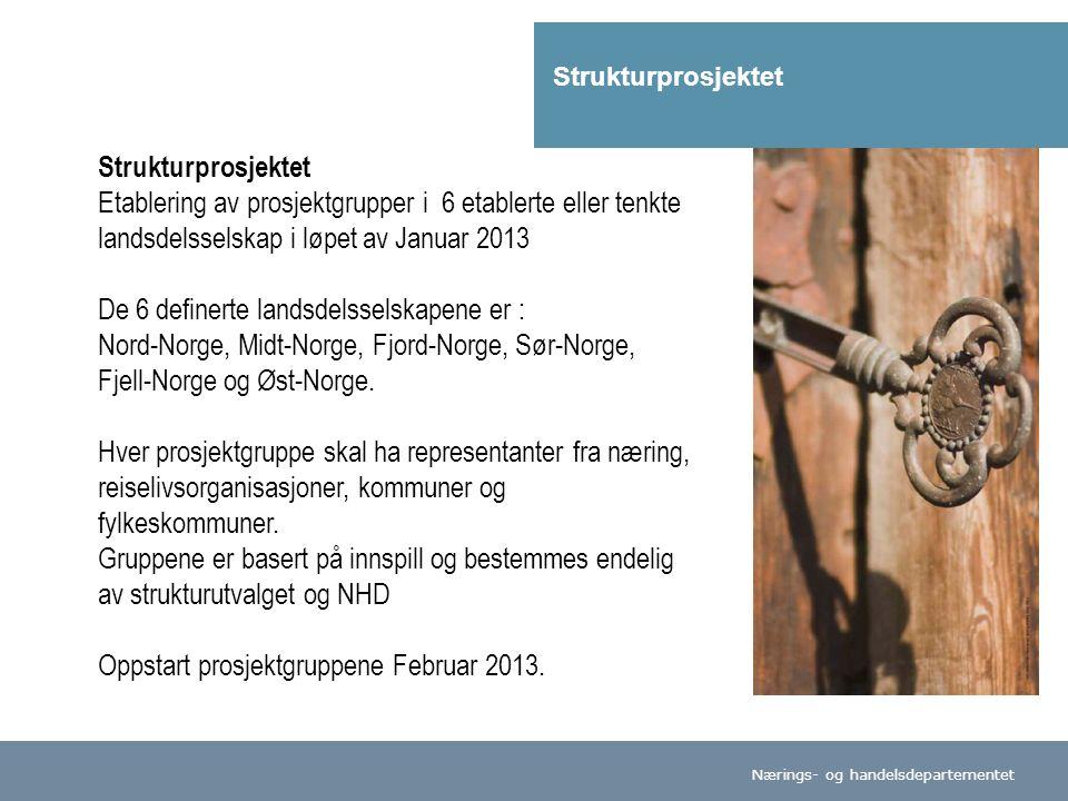 Nærings- og handelsdepartementet Strukturprosjektet Etablering av prosjektgrupper i 6 etablerte eller tenkte landsdelsselskap i løpet av Januar 2013 De 6 definerte landsdelsselskapene er : Nord-Norge, Midt-Norge, Fjord-Norge, Sør-Norge, Fjell-Norge og Øst-Norge.