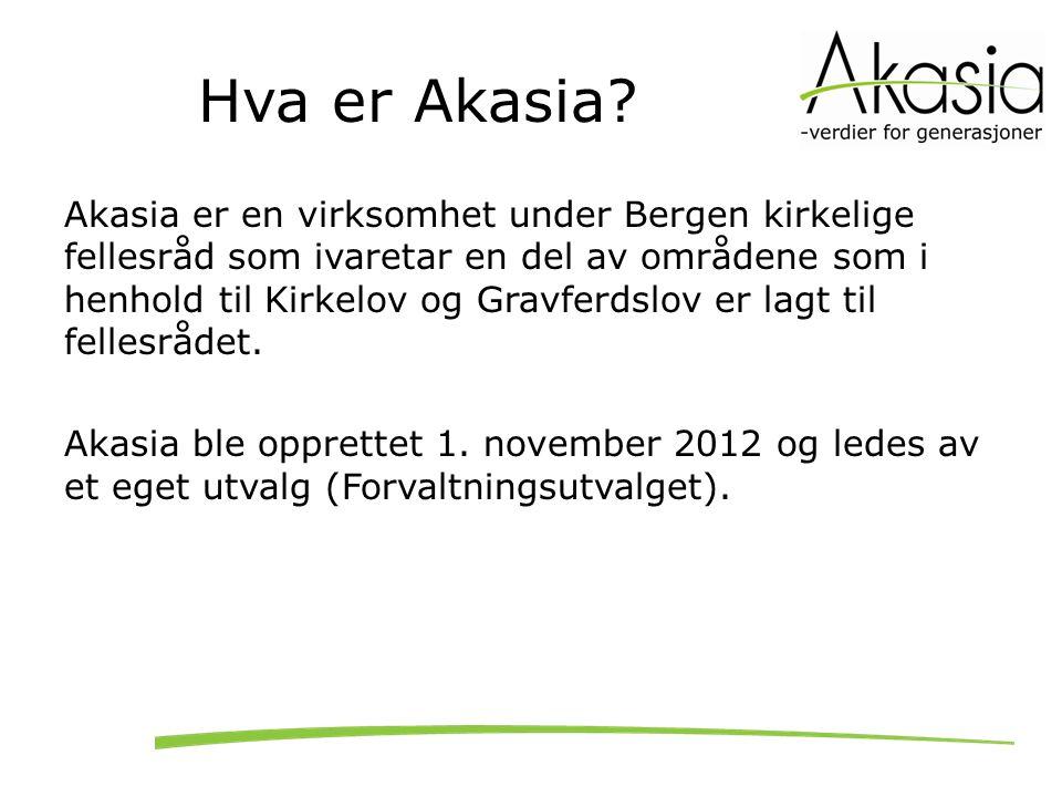 Hva er Akasia? Akasia er en virksomhet under Bergen kirkelige fellesråd som ivaretar en del av områdene som i henhold til Kirkelov og Gravferdslov er