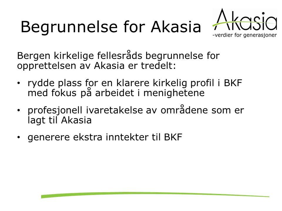 Begrunnelse for Akasia Bergen kirkelige fellesråds begrunnelse for opprettelsen av Akasia er tredelt: rydde plass for en klarere kirkelig profil i BKF