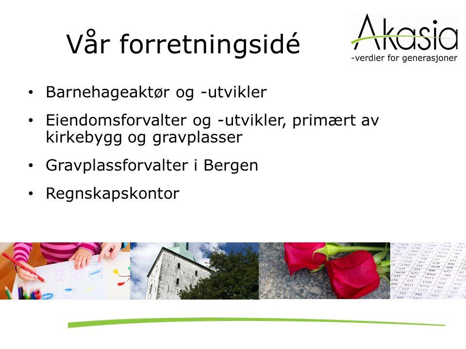 Vår forretningsidé Barnehageaktør og -utvikler Eiendomsforvalter og -utvikler, primært av kirkebygg og gravplasser Gravplassforvalter i Bergen Regnska