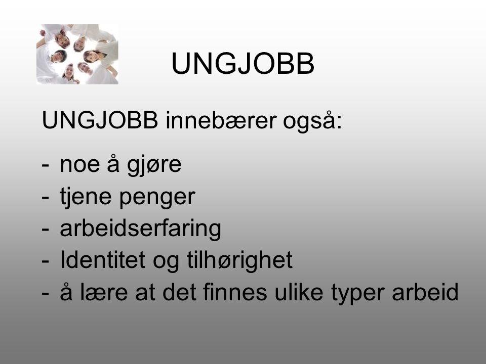 UNGJOBB Dette lærer du gjennom UNGJOBB: -å skrive jobbsøknad -å skrive CV (Curriculum Vitae, som er en beskrivelse av hvem du er og hva du har gjort ).
