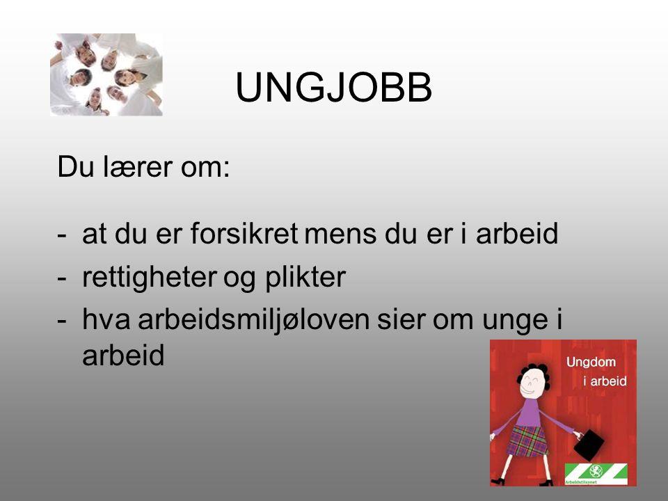 UNGJOBB Du lærer om: -at du er forsikret mens du er i arbeid -rettigheter og plikter -hva arbeidsmiljøloven sier om unge i arbeid