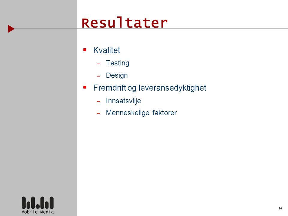 14 Resultater  Kvalitet – Testing – Design  Fremdrift og leveransedyktighet – Innsatsvilje – Menneskelige faktorer
