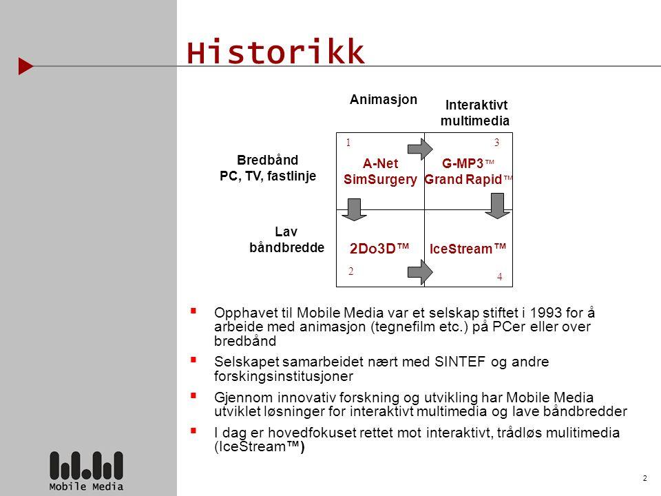 2 Historikk  Opphavet til Mobile Media var et selskap stiftet i 1993 for å arbeide med animasjon (tegnefilm etc.) på PCer eller over bredbånd  Selskapet samarbeidet nært med SINTEF og andre forskingsinstitusjoner  Gjennom innovativ forskning og utvikling har Mobile Media utviklet løsninger for interaktivt multimedia og lave båndbredder  I dag er hovedfokuset rettet mot interaktivt, trådløs mulitimedia (IceStream™) A-Net SimSurgery G-MP3 ™ Grand Rapid ™ 2Do3D™ IceStream ™ Animasjon Bredbånd PC, TV, fastlinje Lav båndbredde 13 2 4 Interaktivt multimedia