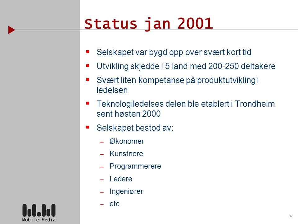 6 Status jan 2001  Selskapet var bygd opp over svært kort tid  Utvikling skjedde i 5 land med 200-250 deltakere  Svært liten kompetanse på produktutvikling i ledelsen  Teknologiledelses delen ble etablert i Trondheim sent høsten 2000  Selskapet bestod av: – Økonomer – Kunstnere – Programmerere – Ledere – Ingeniører – etc
