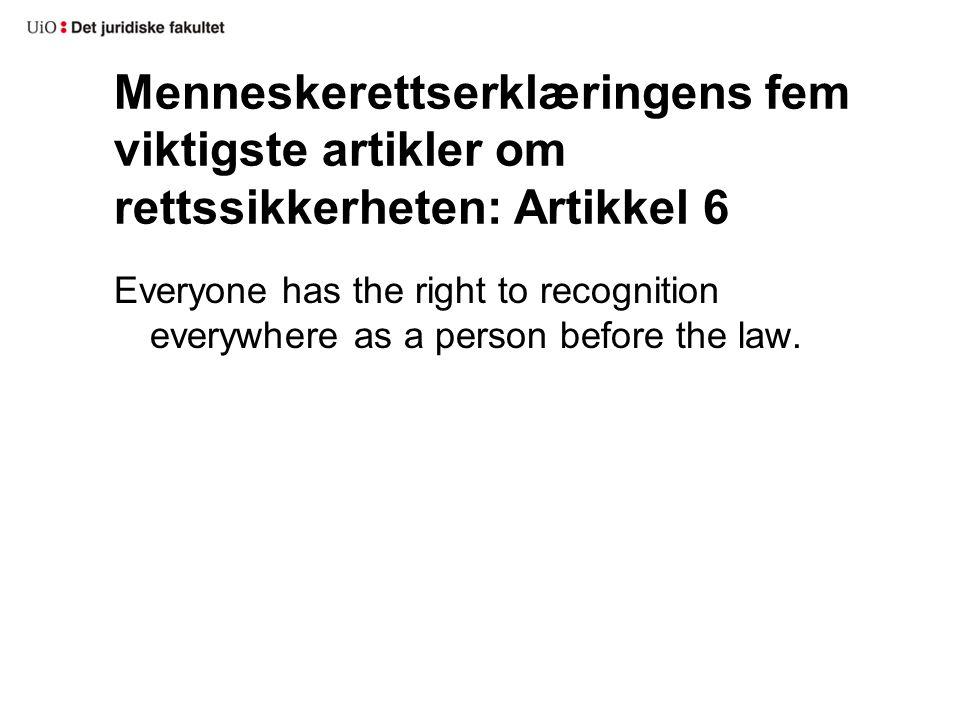 Menneskerettserklæringens fem viktigste artikler om rettssikkerheten: Artikkel 7 All are equal before the law and are entitled without any discrimination to equal protection of the law.