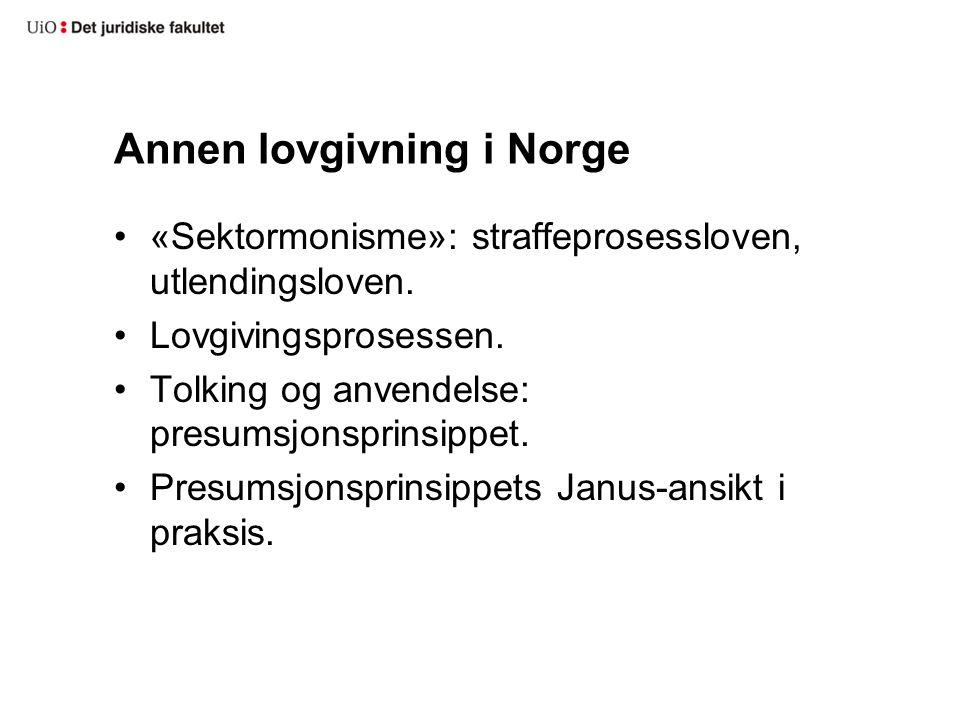 Annen lovgivning i Norge «Sektormonisme»: straffeprosessloven, utlendingsloven.