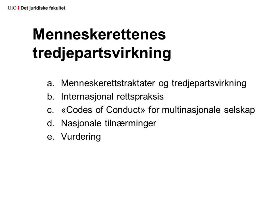 Menneskerettenes tredjepartsvirkning a.Menneskerettstraktater og tredjepartsvirkning b.Internasjonal rettspraksis c.«Codes of Conduct» for multinasjon