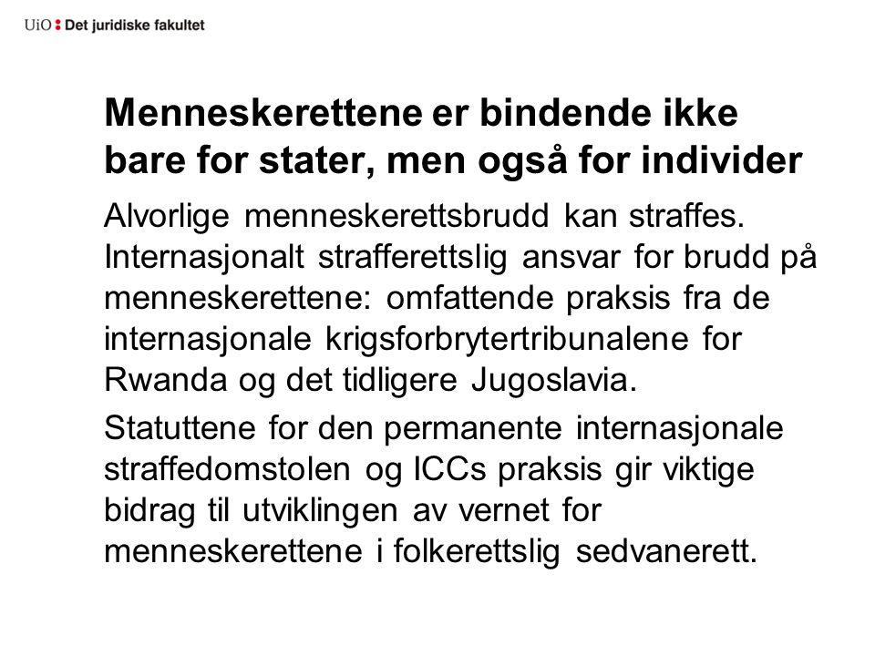 Menneskerettene er bindende ikke bare for stater, men også for individer Alvorlige menneskerettsbrudd kan straffes.