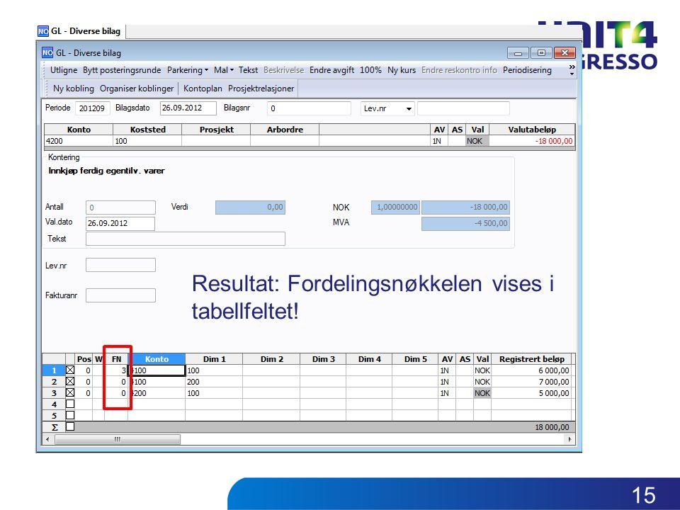 Resultat: Fordelingsnøkkelen vises i tabellfeltet! 15