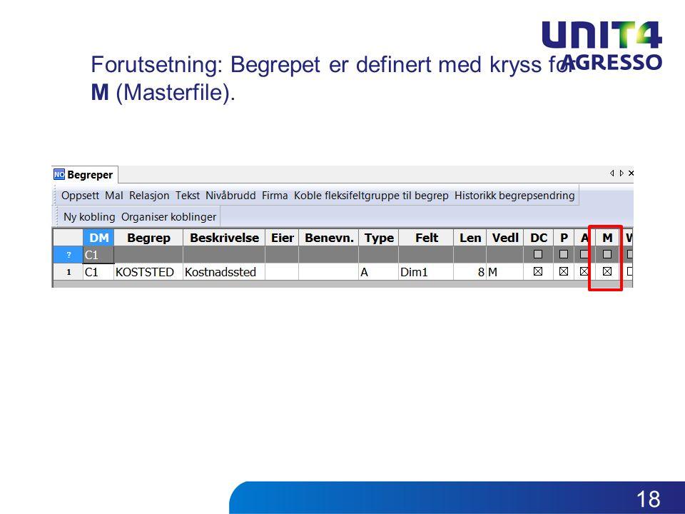 Forutsetning: Begrepet er definert med kryss for M (Masterfile). 18