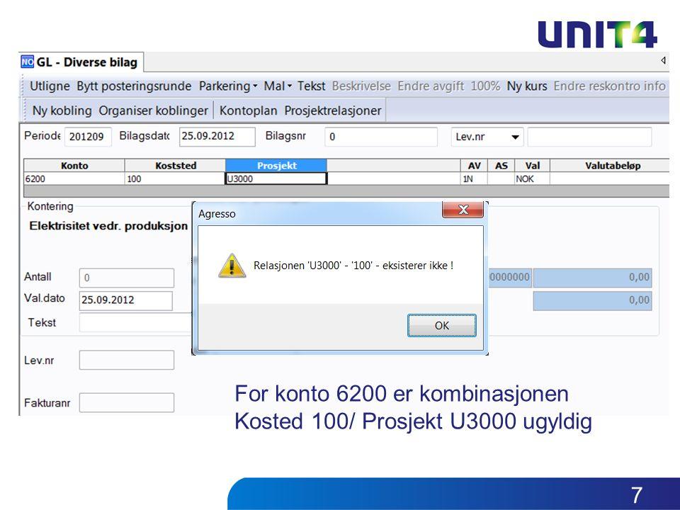 For konto 6200 er kombinasjonen Kosted 100/ Prosjekt U3000 ugyldig 7