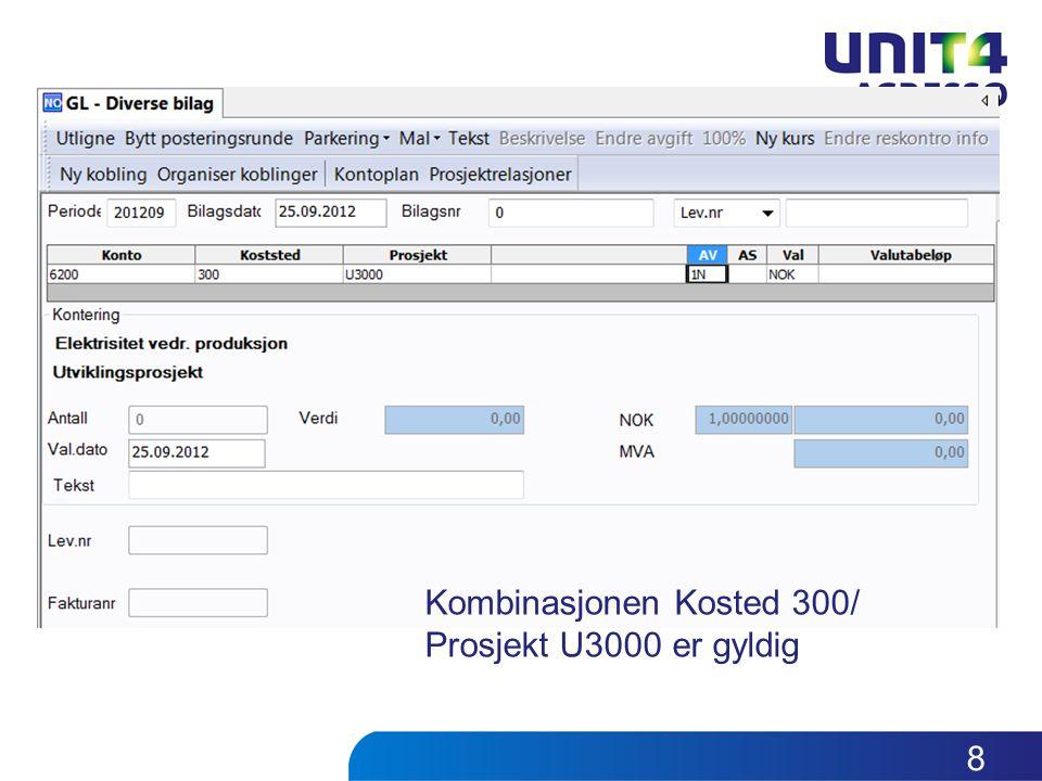 Kombinasjonen Kosted 300/ Prosjekt U3000 er gyldig 8