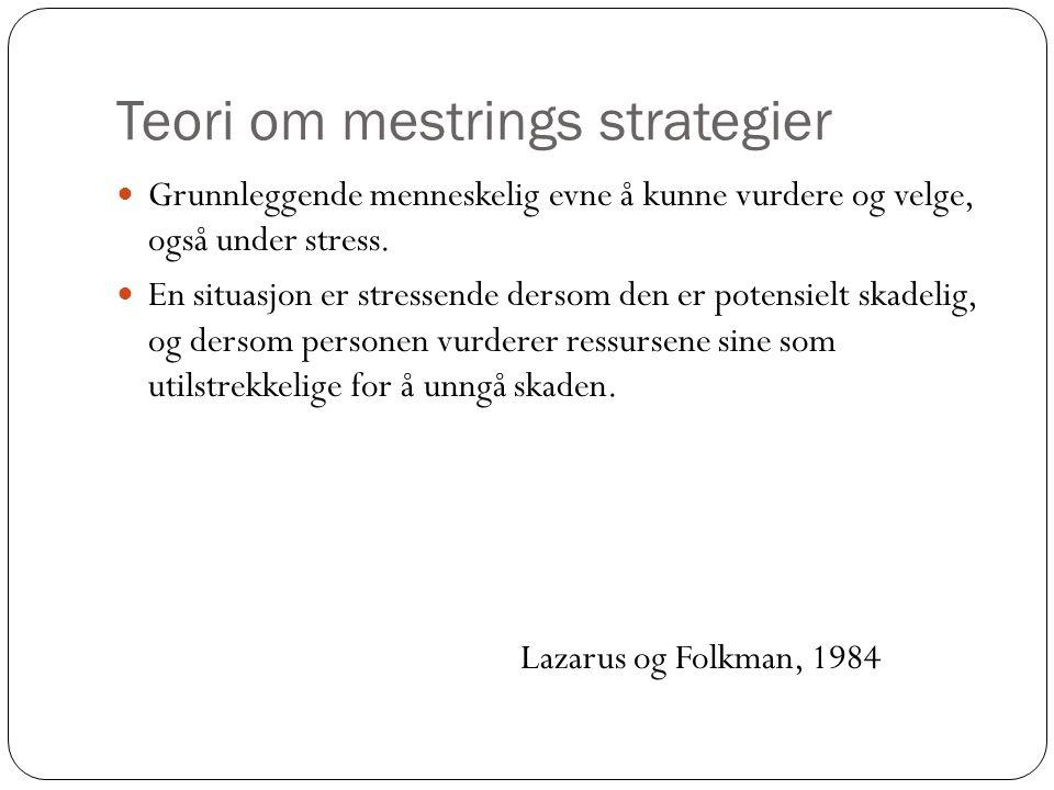 Teori om mestrings strategier Grunnleggende menneskelig evne å kunne vurdere og velge, også under stress. En situasjon er stressende dersom den er pot