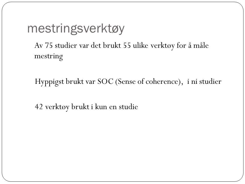 mestringsverktøy Av 75 studier var det brukt 55 ulike verktøy for å måle mestring Hyppigst brukt var SOC (Sense of coherence), i ni studier 42 verktøy