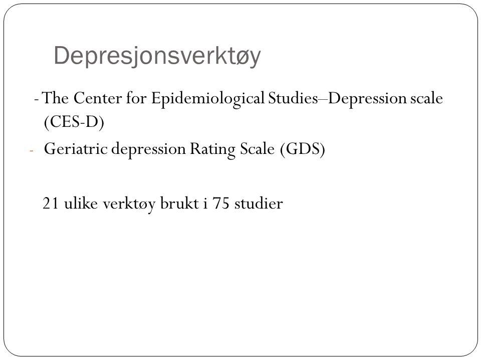 Depresjonsverktøy - The Center for Epidemiological Studies–Depression scale (CES-D) - Geriatric depression Rating Scale (GDS) 21 ulike verktøy brukt i