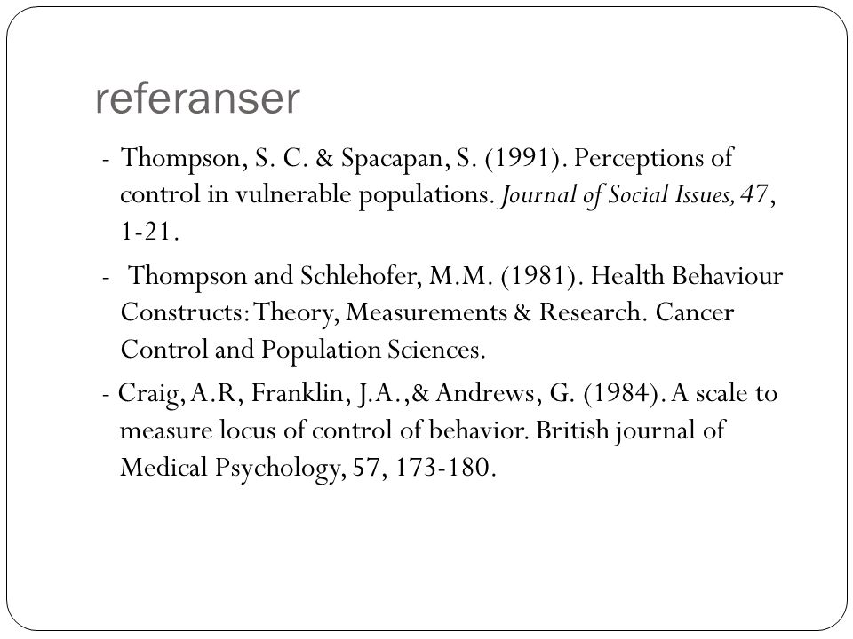 referanser - Thompson, S. C. & Spacapan, S. (1991).