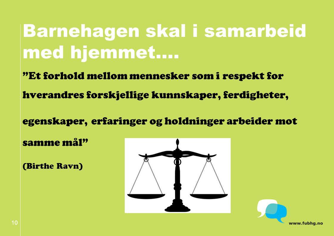 Barnehagen skal i samarbeid med hjemmet….