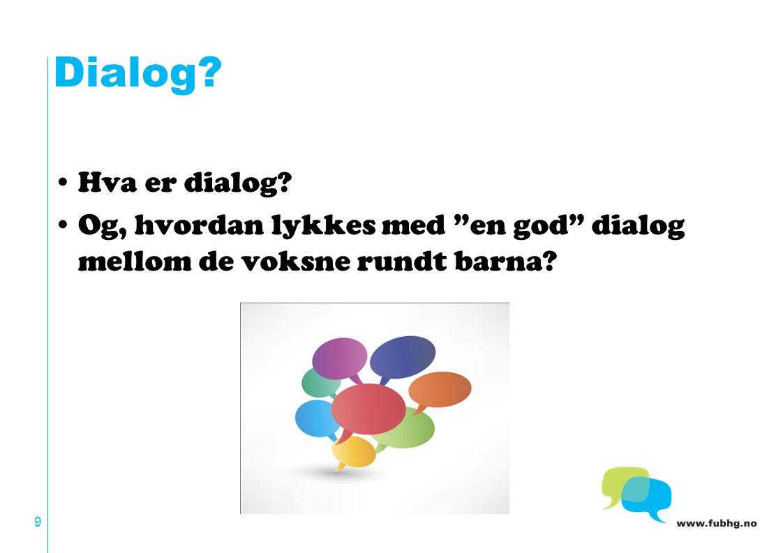 Dialog? Hva er dialog? Og, hvordan lykkes med en god dialog mellom de voksne rundt barna? 9