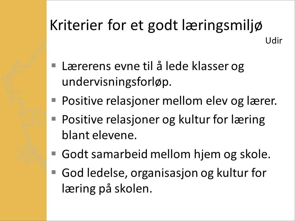 Kriterier for et godt læringsmiljø Udir  Lærerens evne til å lede klasser og undervisningsforløp.