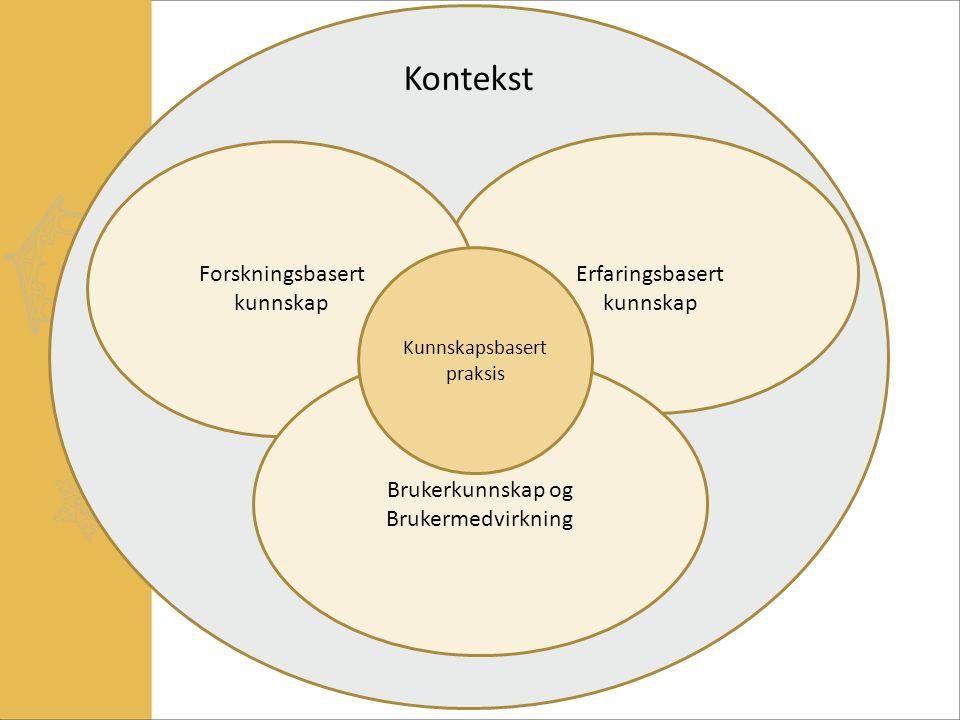 Erfaringsbasert kunnskap Forskningsbasert kunnskap Brukerkunnskap og Brukermedvirkning Kunnskapsbasert praksis Kontekst