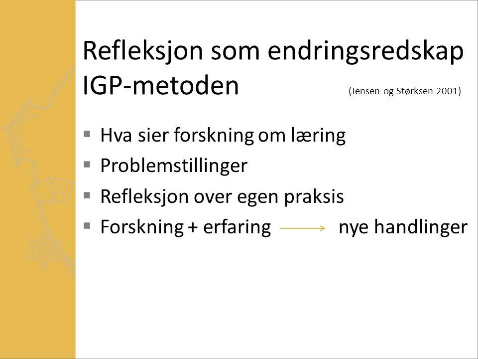 Refleksjon som endringsredskap IGP-metoden (Jensen og Størksen 2001)  Hva sier forskning om læring  Problemstillinger  Refleksjon over egen praksis  Forskning + erfaring nye handlinger