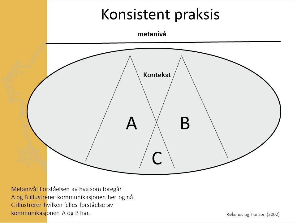 AB C Kontekst Metanivå: Forståelsen av hva som foregår A og B illustrerer kommunikasjonen her og nå.