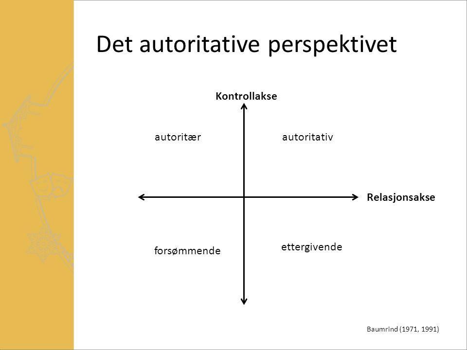 Det autoritative perspektivet autoritativ ettergivende autoritær forsømmende Kontrollakse Relasjonsakse Baumrind (1971, 1991)