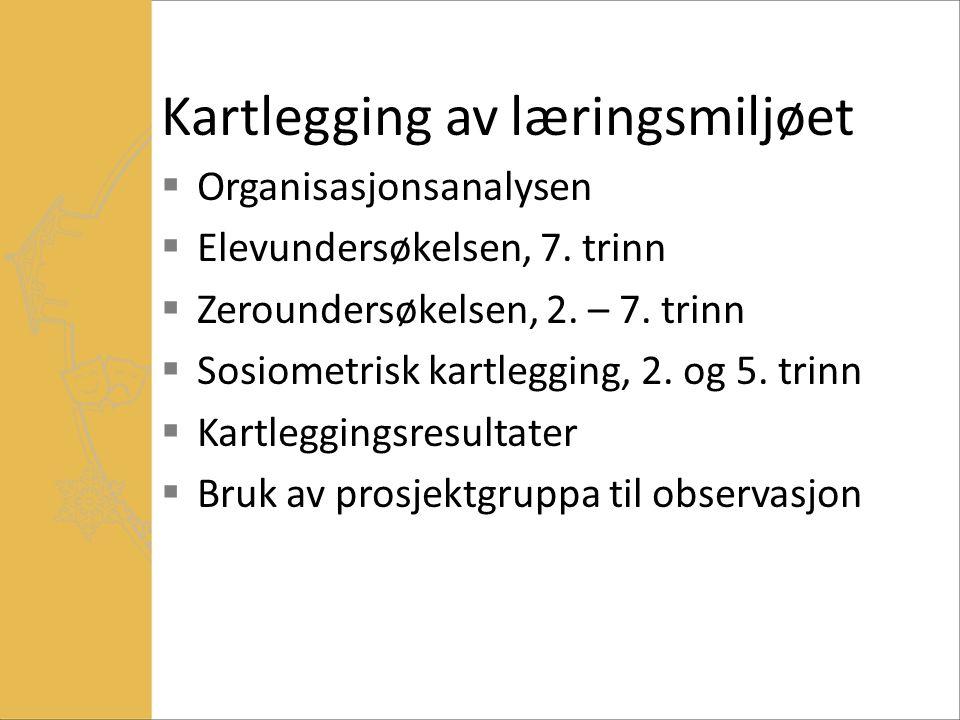 Kartlegging av læringsmiljøet  Organisasjonsanalysen  Elevundersøkelsen, 7.