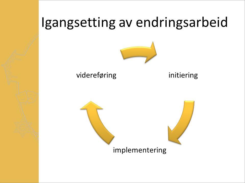 Igangsetting av endringsarbeid initiering implementering videreføring