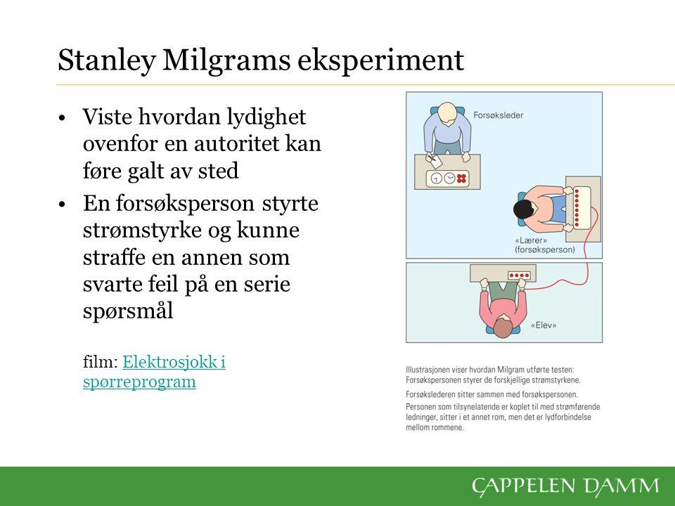 Stanley Milgrams eksperiment Viste hvordan lydighet ovenfor en autoritet kan føre galt av sted En forsøksperson styrte strømstyrke og kunne straffe en
