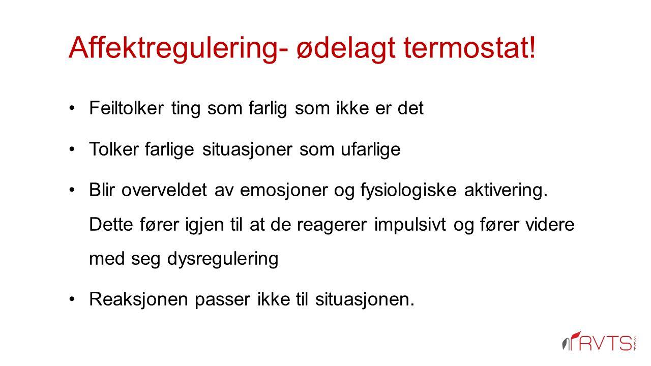 Affektregulering- ødelagt termostat! Feiltolker ting som farlig som ikke er det Tolker farlige situasjoner som ufarlige Blir overveldet av emosjoner o