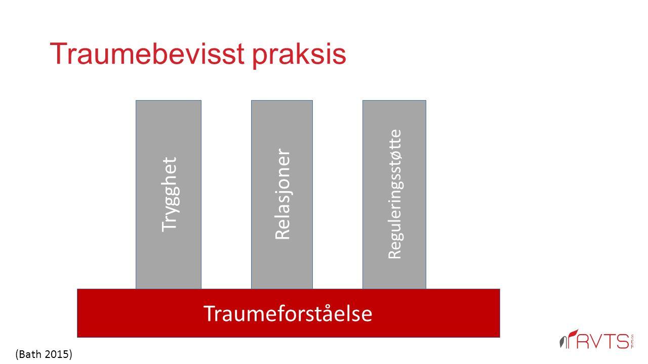 Traumebevisst praksis Traumeforståelse Trygghet Relasjoner Reguleringsstøtte (Bath 2015)