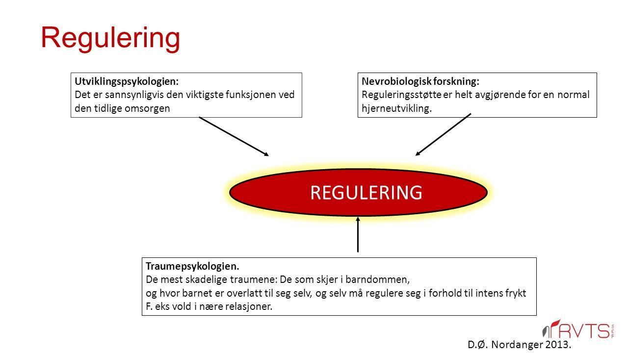 REGULERING Utviklingspsykologien: Det er sannsynligvis den viktigste funksjonen ved den tidlige omsorgen Nevrobiologisk forskning: Reguleringsstøtte e