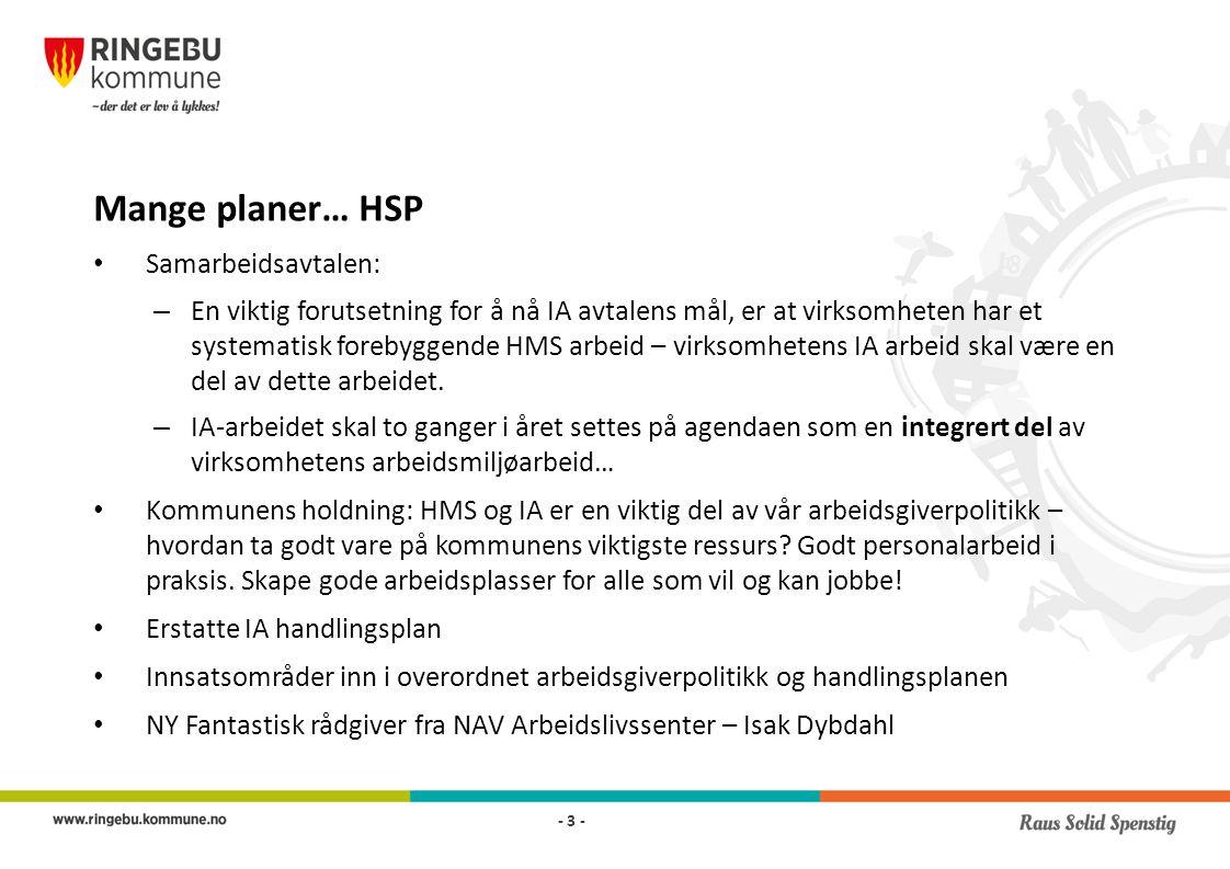 Mange planer… HSP Samarbeidsavtalen: – En viktig forutsetning for å nå IA avtalens mål, er at virksomheten har et systematisk forebyggende HMS arbeid – virksomhetens IA arbeid skal være en del av dette arbeidet.