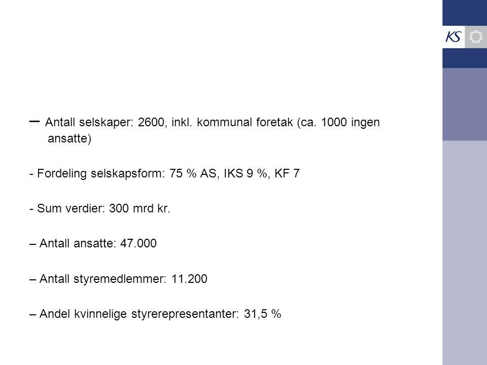 – Antall selskaper: 2600, inkl. kommunal foretak (ca.