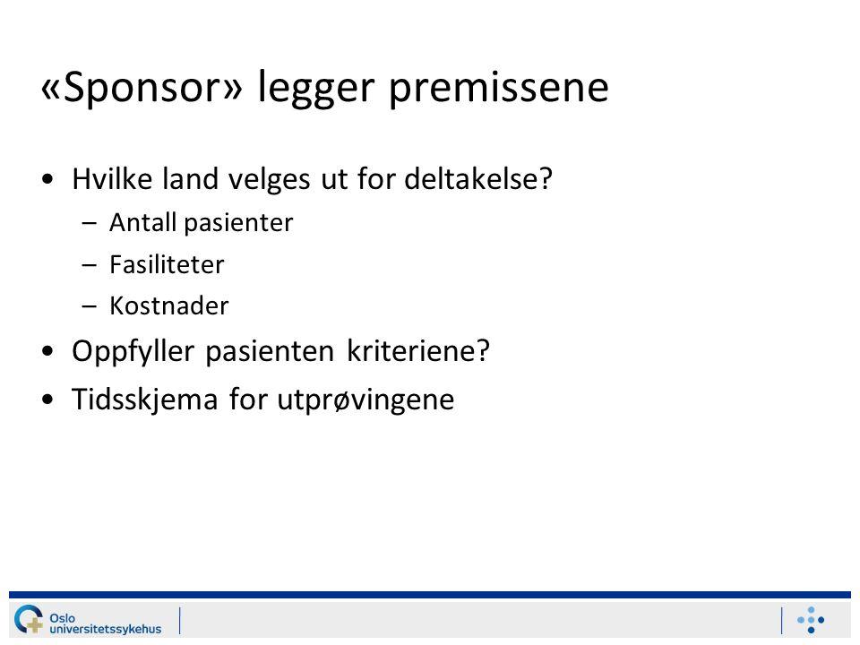 «Sponsor» legger premissene Hvilke land velges ut for deltakelse.