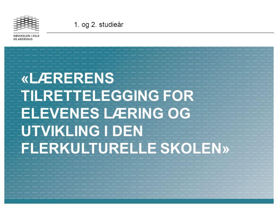 «LÆRERENS TILRETTELEGGING FOR ELEVENES LÆRING OG UTVIKLING I DEN FLERKULTURELLE SKOLEN» 1.