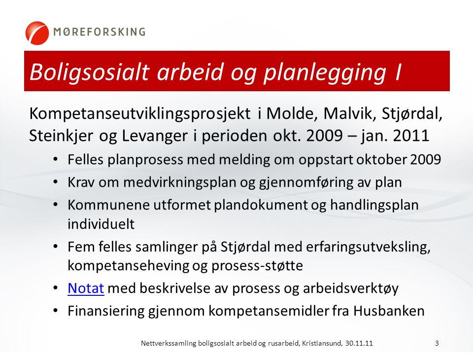 Boligsosialt arbeid og planlegging I Kompetanseutviklingsprosjekt i Molde, Malvik, Stjørdal, Steinkjer og Levanger i perioden okt.